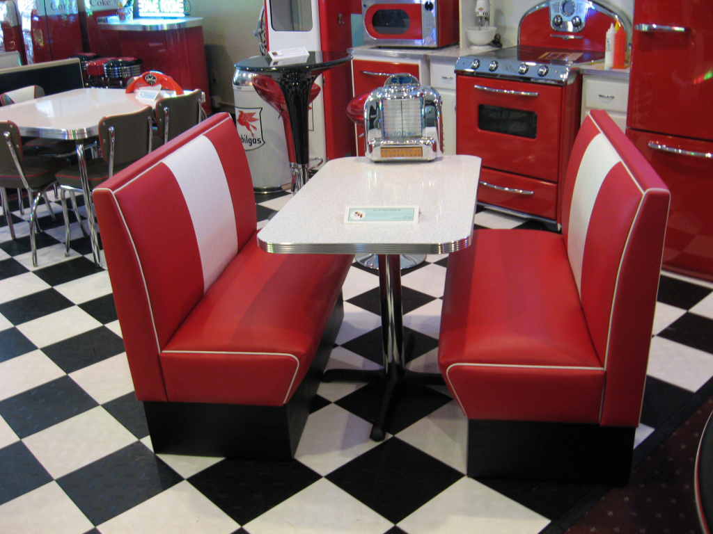 Diner booth sets home kitchen retro deco cornerbooths - Kitchen table booths ...
